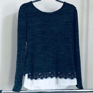 MAURICES   Gray Long Sleeve Lace and Sheer Shirt